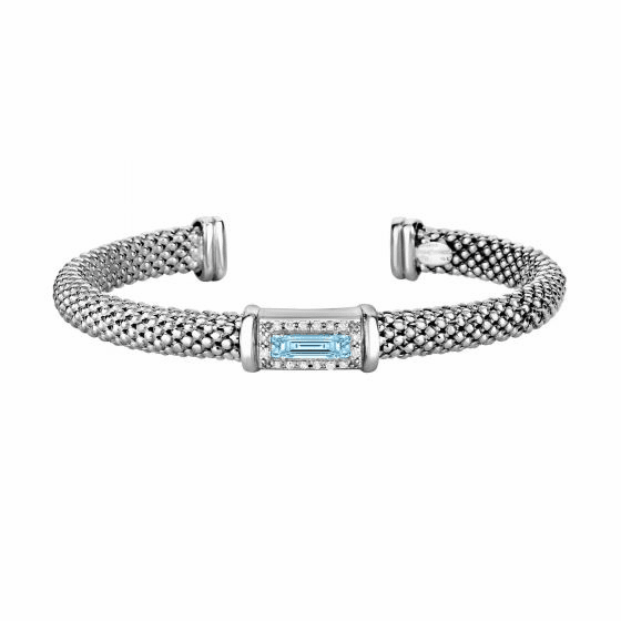 Silver Popcorn Cuff Bangle with Diamonds and Baguette Blue Topaz
