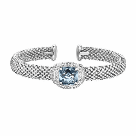 Silver Popcorn Cuff Bracelet with Diamonds and Cushion Cut Blue Topaz