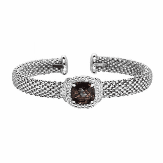 Silver Popcorn Cuff Bracelet with Diamonds & Cushion Cut Smokey Quartz