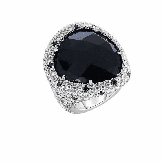 Silver Popcorn Large Oval Black Onyx and Black Spinel Ring