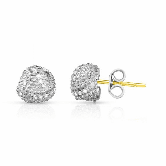 Silver Popcorn Love Knot Earrings with .18ct Diamonds & 18k Gold Post