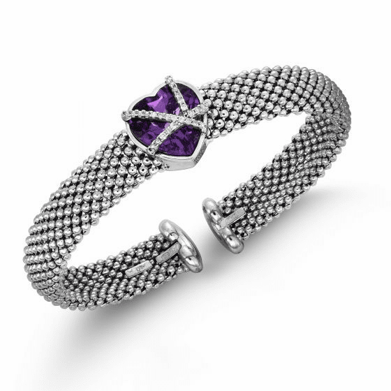 Silver Popcorn Mesh Heart-ShapedCuff Bangle with Amethyst and Diamonds