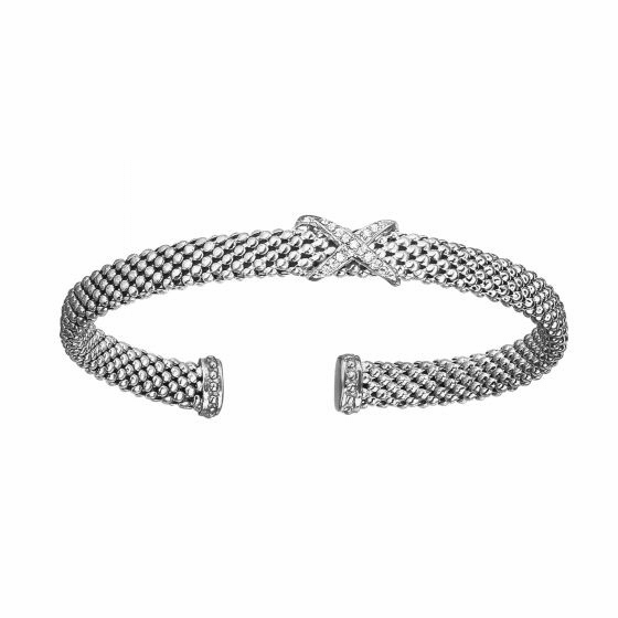 Silver Popcorn Mesh X Cuff with Diamonds