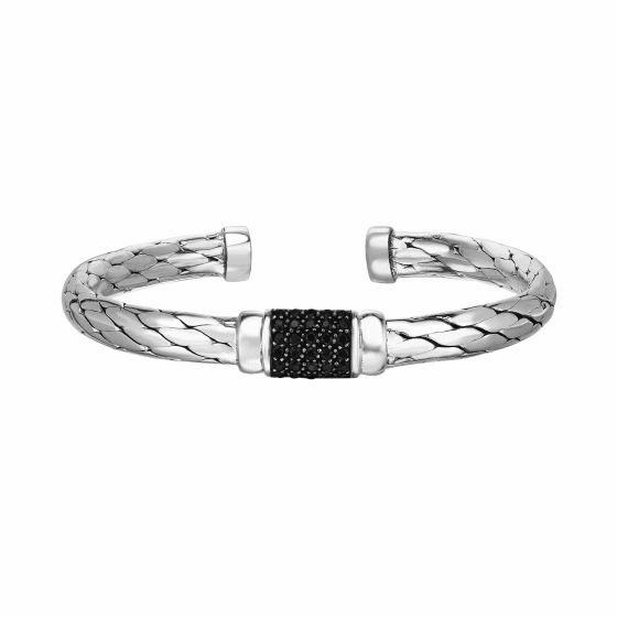 Silver Python Woven Cuff Bangle with Black Sapphire