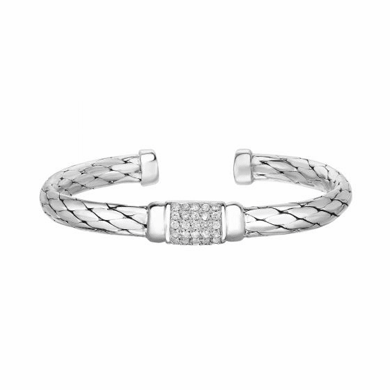 Silver Python Woven Cuff Bangle with White Sapphire