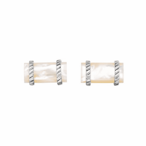 Silver Rectangular Cufflinks with White Mother Of Pearl