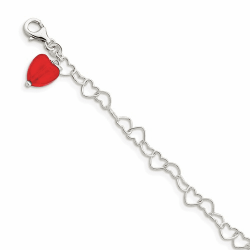 Silver Red Synthetic Crystal Stone Heart Link Anklet Qg1347-10