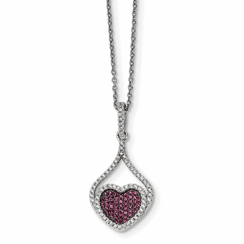 Silver Red & White Cz Brilliant Embers Polished Heart Necklace