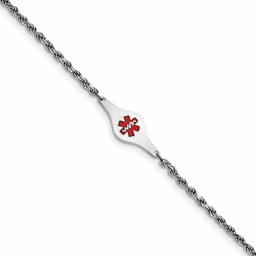 Silver Rhod-plated Children's Medical Id Rope Link Bracelet