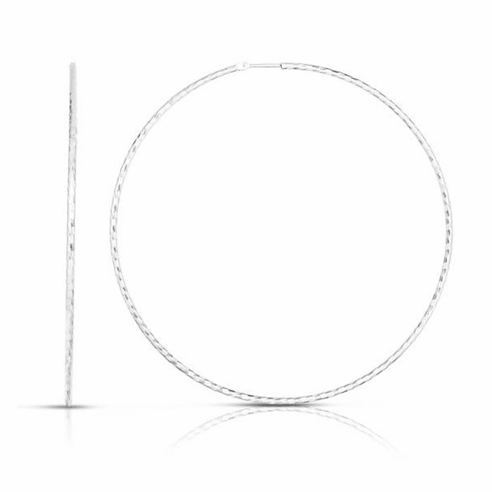 Silver Rhodium 1.6mm Diamond Cut Earring with Endless Clasp - AGER8122
