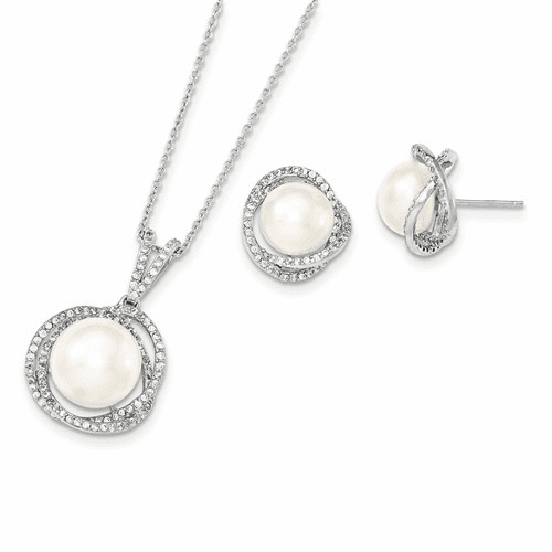 Silver Rhodium 10-12mm White Fwc Pearl Cz Neck And Earring Set
