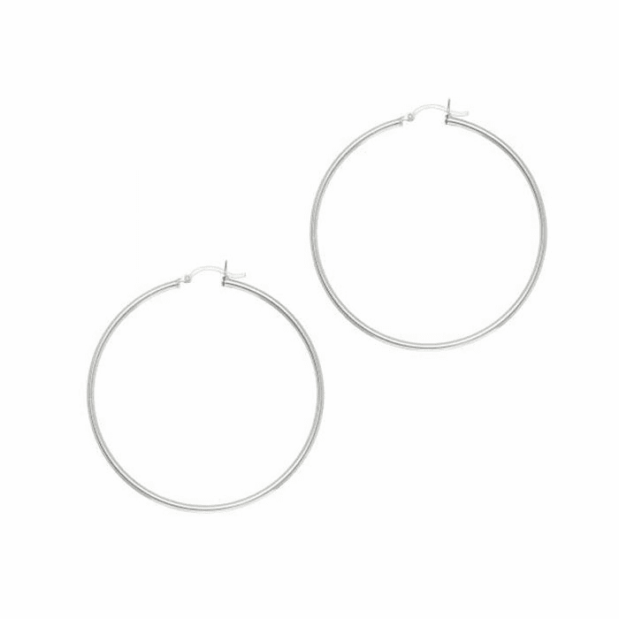 Silver Rhodium 2.0X50mm All Shiny Hoop Earring with Hinged Clasp