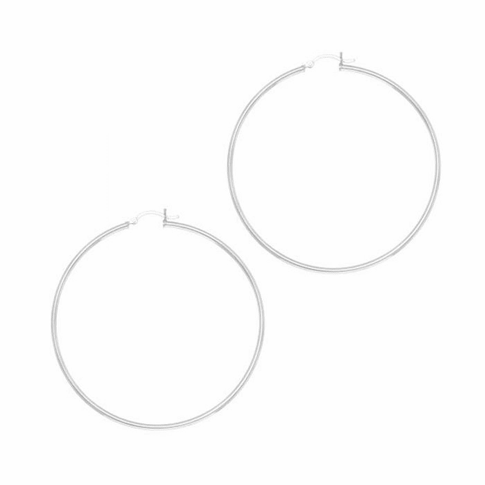 Silver Rhodium 2.0X62mm All Shiny Hoop Earring with Hinged Clasp
