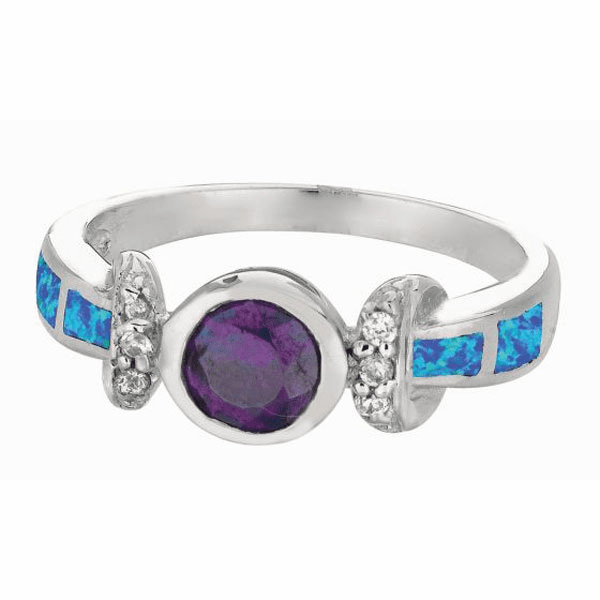 Silver / Rhodium 2.7mm Shiny Created Opal Fancy Round Top Size 6 Ring