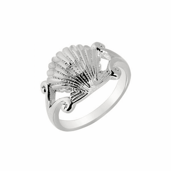 Silver/Rhodium 2.7mm Shiny Textured Sea Shell Top Size 6 Sea Life Ring