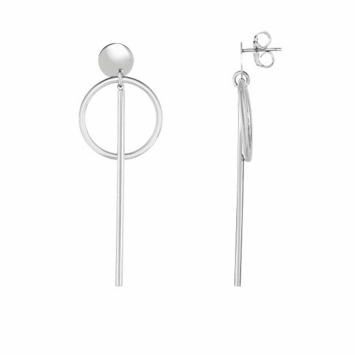 Silver Rhodium 20x70 mm Shiny Round Tube Drop Vertical Bar Earring