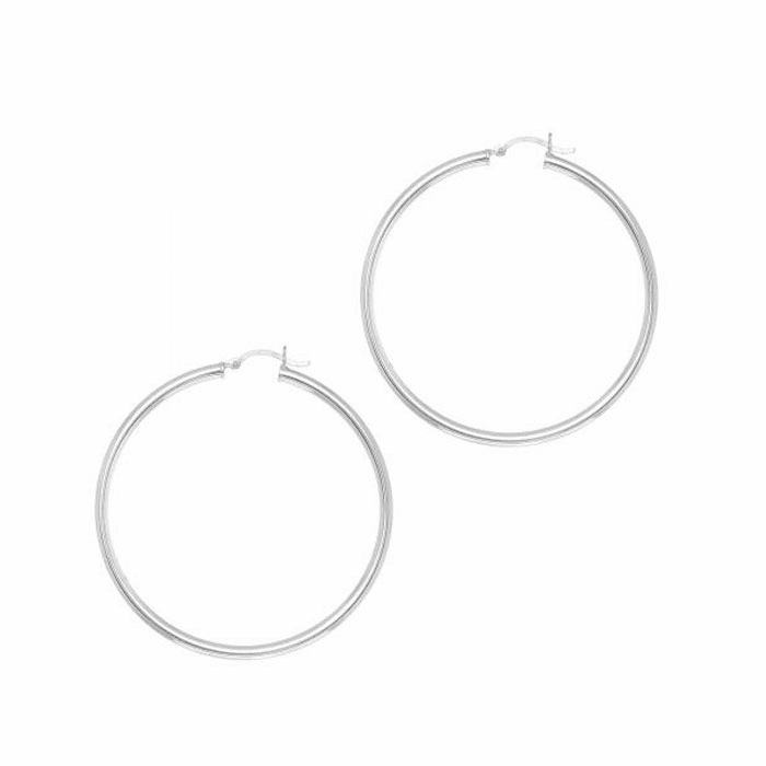 Silver Rhodium 3.0X50mm All Shiny Hoop Earring with Hinged Clasp