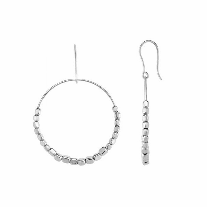 Silver Rhodium 40x58mm Shiny Bead Round Earring with Euro Wire Clasp