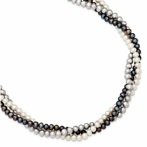 Silver Rhodium 5-6mm Fwc Semi Round Pearl W/2in Ext. Necklace
