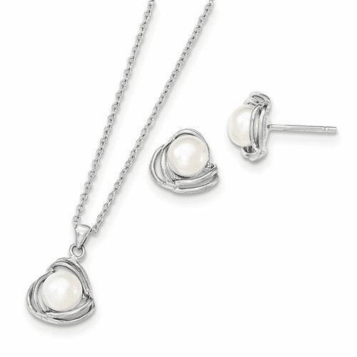 Silver Rhodium 6-7mm White Fwc Pearl Neck And Earring Set