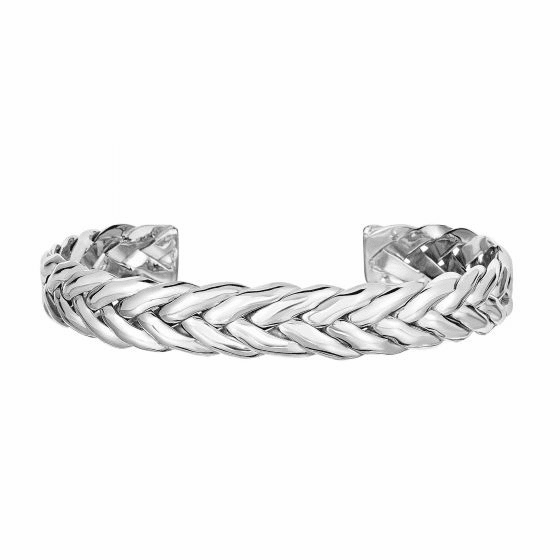 Silver/Rhodium 65 x 51 x 10.3mm Shiny Palm Leaf Pattern Cuff Bangle