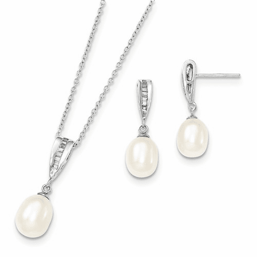 Silver Rhodium 7-8mm White Fwc Pearl Cz Neck And Earring Set