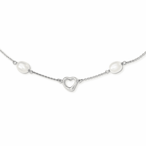 Silver Rhodium 7-8mm White Fwc Pearl W/2in Ext. Necklace QH4747-17