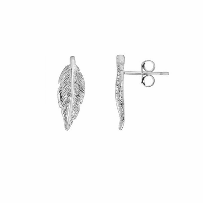 Silver Rhodium 7x18.5mm Shiny Textured Fancy Drop Leaf Earring