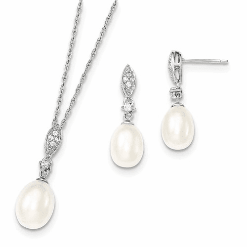 Silver Rhodium 8-9mm White Fwc Pearl Cz Neck And Earring Set