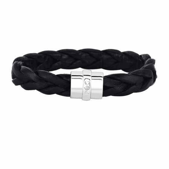 Silver/Rhodium Black Leather Braided Bracelet with Magnetic Clasp