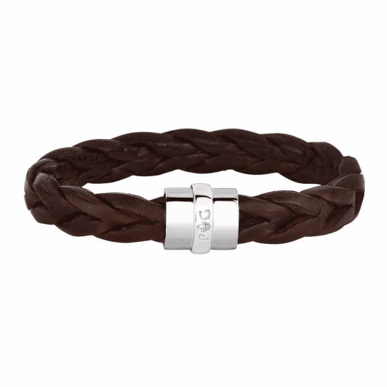 Silver/Rhodium Brown Leather Braided Bracelet with Magnetic Clasp