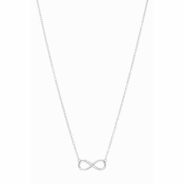 Silver Rhodium Cable Chain Necklace + Figure # 8 Pendant with White CZ