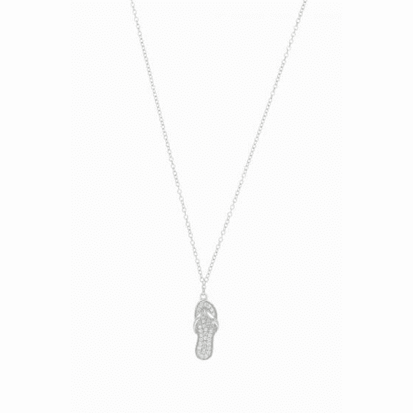 Silver Rhodium Cable Chain Necklace + Flip Flop Pendant with White CZ