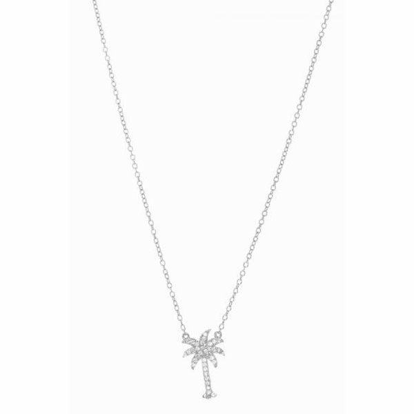Silver Rhodium cable Chain Necklace + Palm Tree Pendant with White CZ