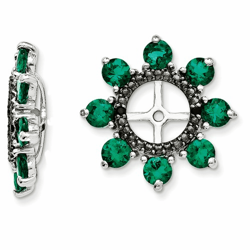 Silver Rhodium Created Emerald & Black Sapphire Earring Jacket