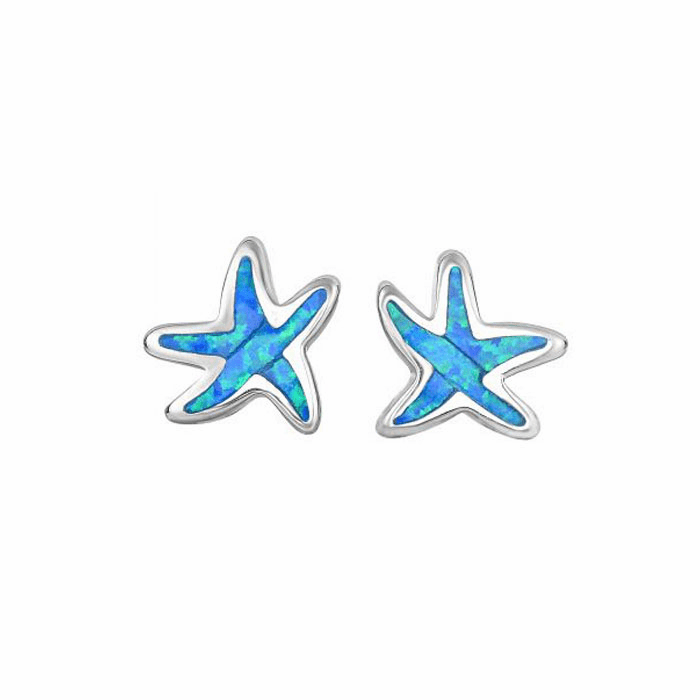 Silver/Rhodium Created Opal Starfish Post Earring
