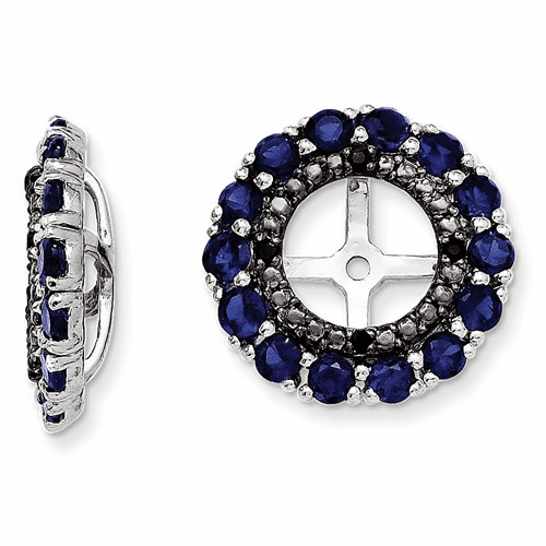 Silver Rhodium Created Sapphire & Black Sapphire Earring Jacket