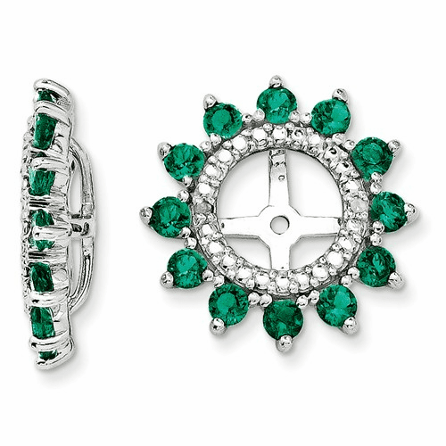 Silver Rhodium Diamond & Created Emerald Earring Jacket Qj104may
