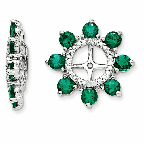 Silver Rhodium Diamond & Created Emerald Earring Jacket Qj109may