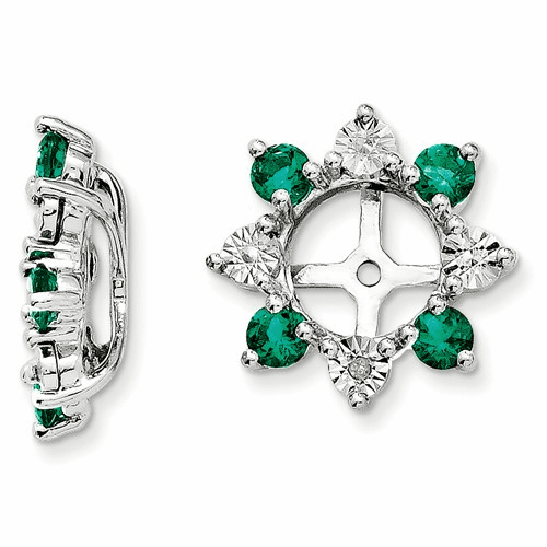 Silver Rhodium Diamond & Created Emerald Earring Jacket Qj115may