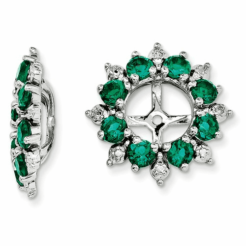 Silver Rhodium Diamond & Created Emerald Earring Jacket Qj119may