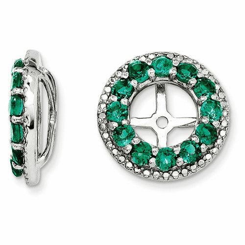 Silver Rhodium Diamond & Created Emerald Earring Jacket Qj123may