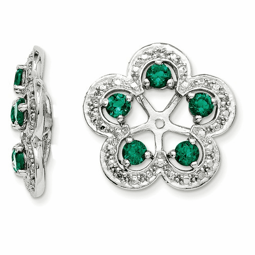 Silver Rhodium Diamond & Created Emerald Earring Jacket Qj140may