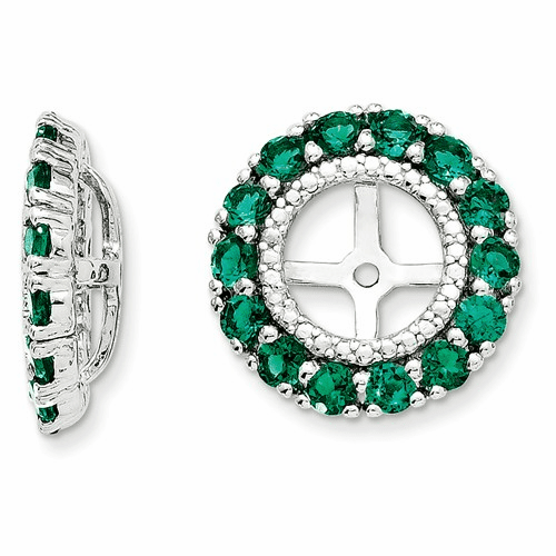 Silver Rhodium Diamond & Created Emerald Earring Jacket Qj146may