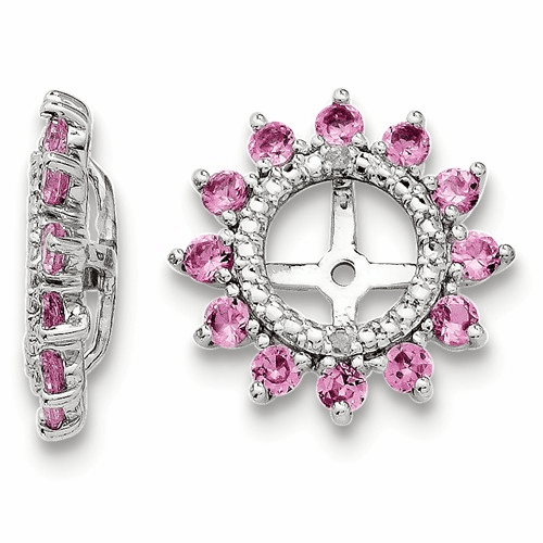 Silver Rhodium Diamond & Created Pink Sapphire Earring Jacket