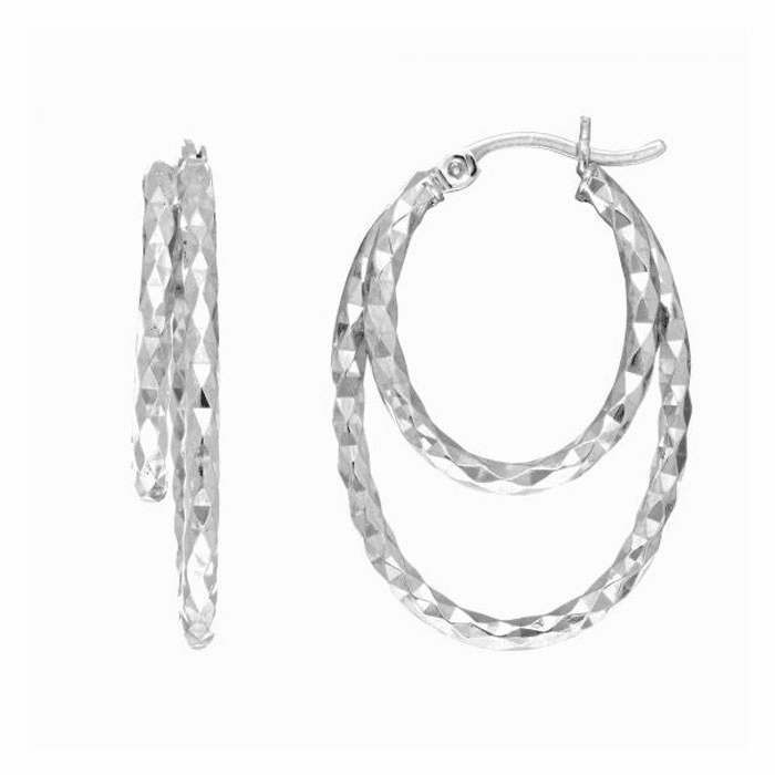Silver Rhodium Diamond Cut 2 Oval Hoop Earring with Hinged Clasp