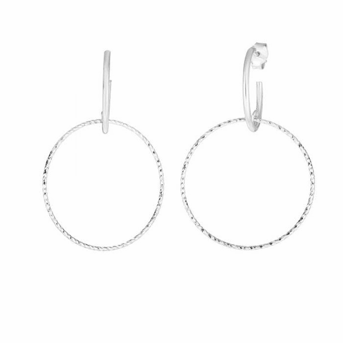 Silver Rhodium Diamond Cut Earring with Push Back Clasp - AGER7840