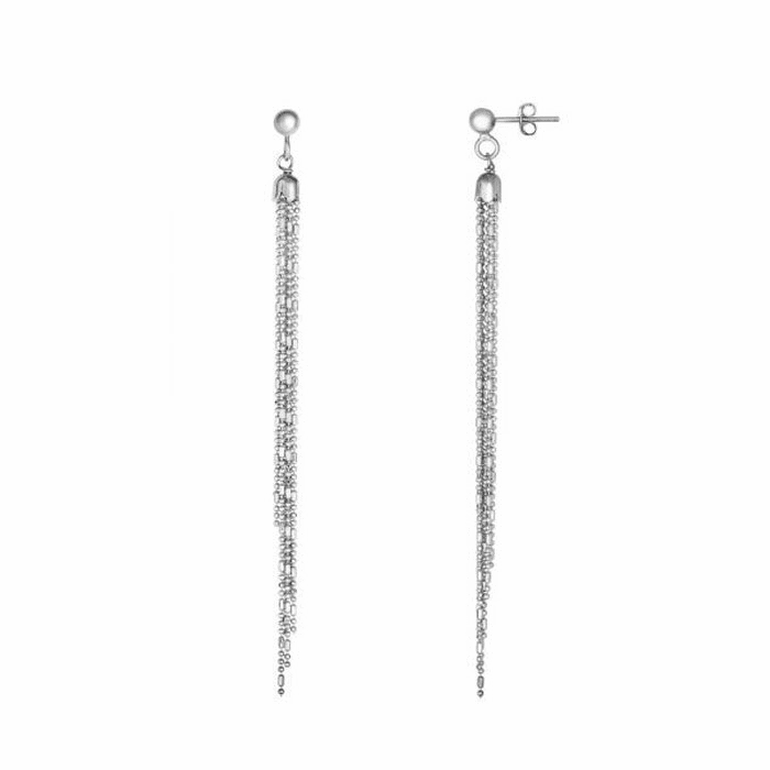 Silver Rhodium Diamond Cut Multi Strand Bead Chain Tassel Type Earring