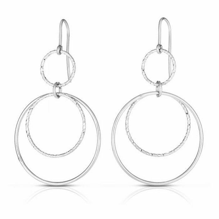 Silver Rhodium Diamond Cut Round Drop Earring with Euro Wire Clasp
