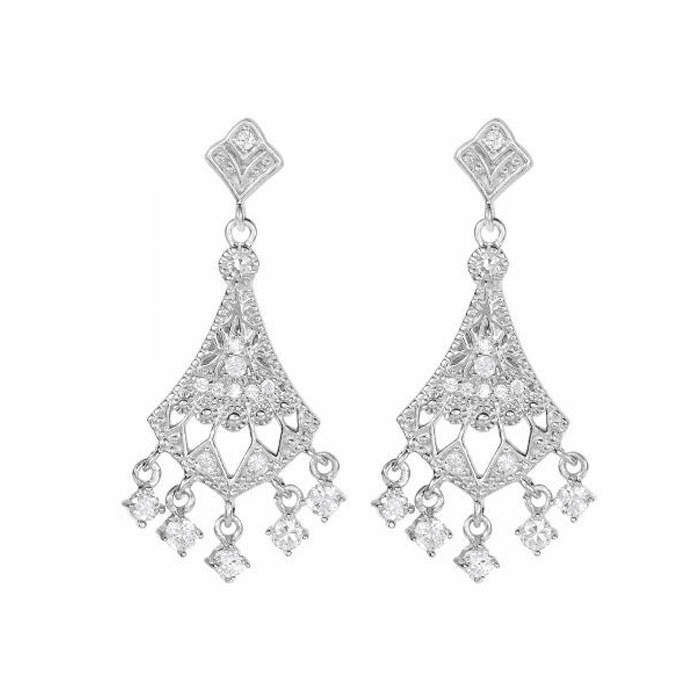 Silver/Rhodium Fancy Chandelier Drop Earring with Push Back Clasp